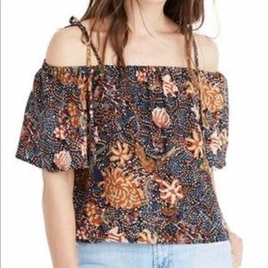 Madewell silk cold-shoulder in sea floral
